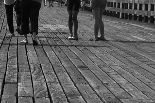 Legs on Walton Pier (B&W)