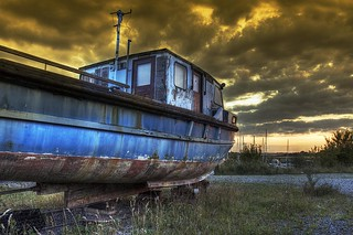 Old Boat at Sunset HDR